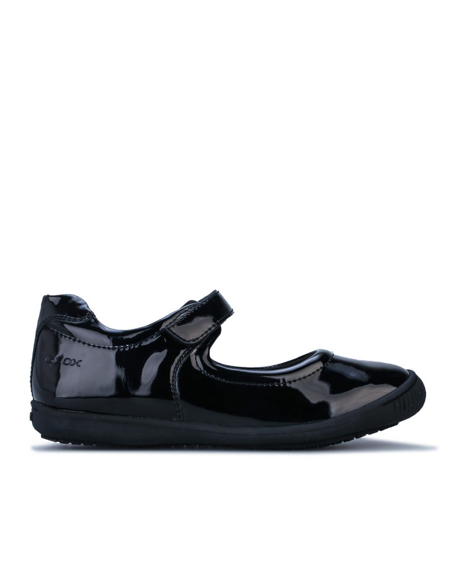 Girl/'s Geox Children Gioia Patent Shoe in Black