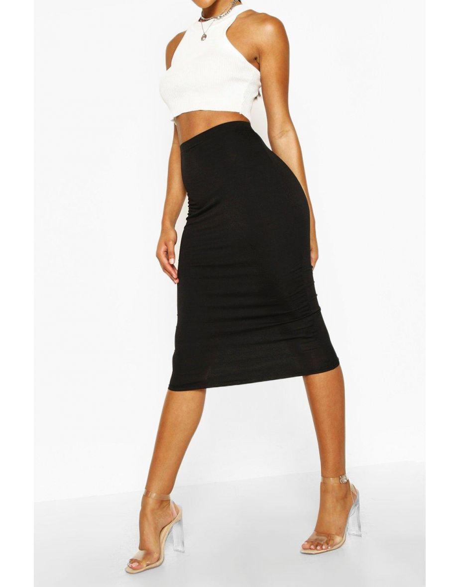 Women Basic Jersey Midi Skirt   grey marl   VogaCloset